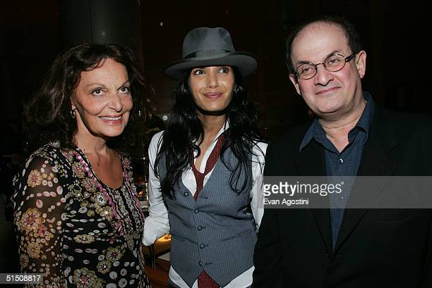 Designer Diane von Furstenberg Padma Lakshmi and Salman Rushdie attend the Diane von Furstenberg by H Stern jewelry collection launch party at the H...