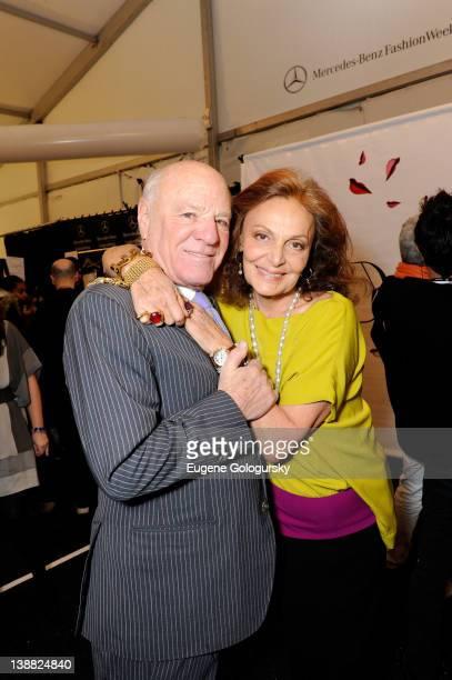 Designer Diane Von Furstenberg poses with Barry Diller backstage at the Diane Von Furstenberg Fall 2012 fashion show during MercedesBenz Fashion Week...