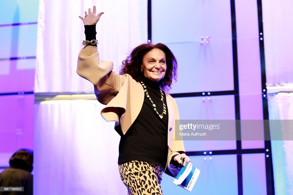 Designer Diane von Furstenberg speaks during the Massachusetts Conference for Women 2017 at the Boston Convention Center on December 7, 2017 in Boston, Massachusetts.