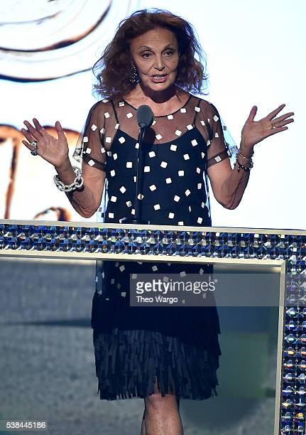 Designer Diane von Furstenberg speaks on stage announcing the winner of the CDFA Fashion Icon Award at the 2016 CFDA Fashion Awards at the...