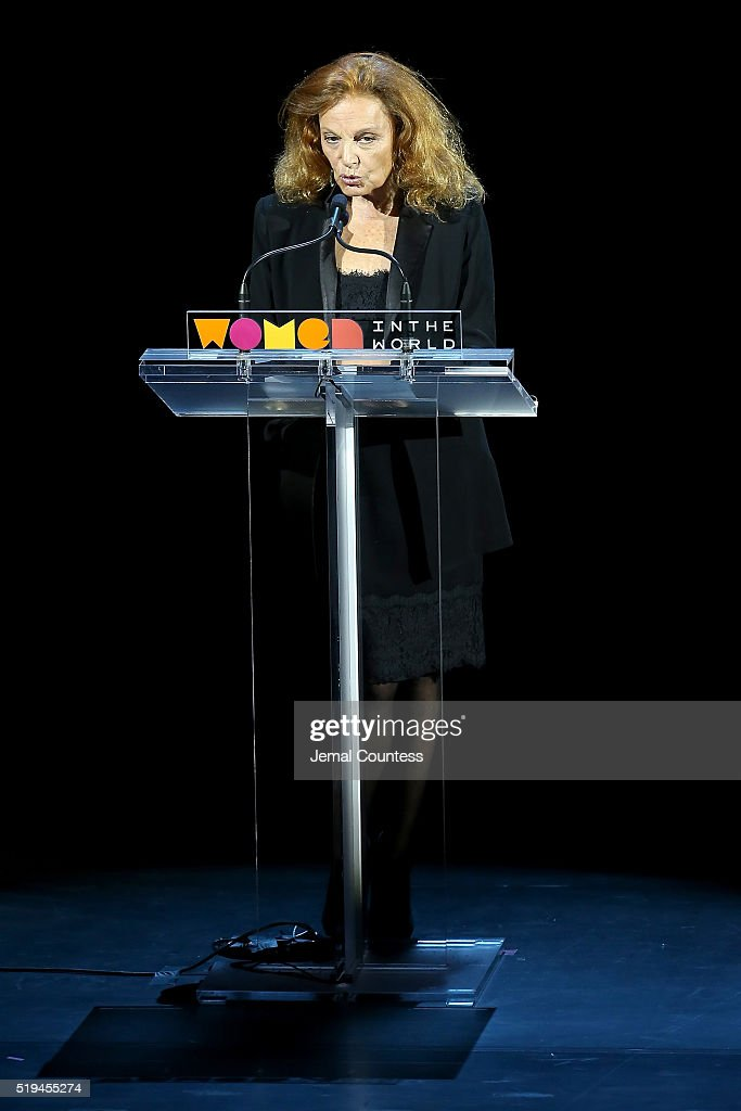 Designer Diane von Furstenberg speaks on stage at Tina Brown's 7th Annual Women In The World Summit Opening Night at David H. Koch Theater at Lincoln Center on April 6, 2016 in New York City.