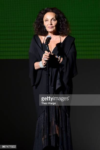 Designer Diane Von Furstenberg speaks onstage during the 2018 CFDA Fashion Awards at Brooklyn Museum on June 4 2018 in New York City