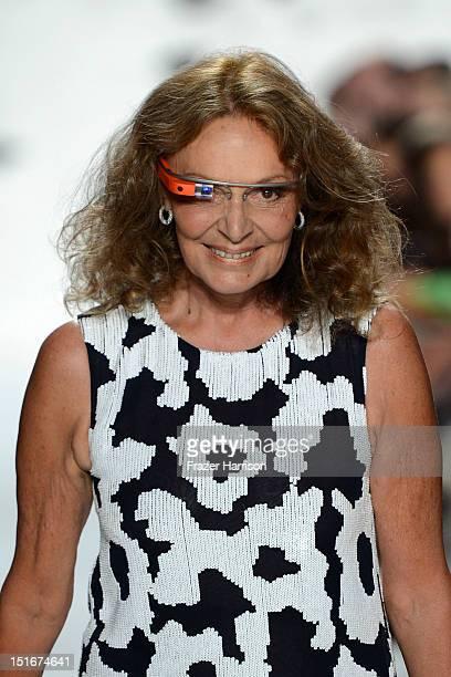 Designer Diane Von Furstenberg walks the runway at the Diane Von Furstenberg Spring 2013 fashion show during MercedesBenz Fashion Week on September 9...