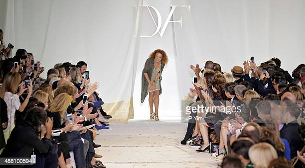 Designer Diane Von Furstenberg walks the runway at the Diane Von Furstenberg Spring 2016 fashion show during New York Fashion Week at Spring Studios...
