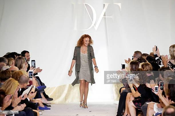 Designer Diane Von Furstenberg walks the runway at the Diane Von Furstenberg Spring 2016 fashion show during New York Fashion Week at Spring Studios...