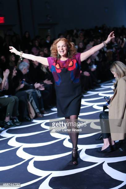 Designer Diane von Furstenberg walks the runway at the DVF Runway Show at Spring Studios on February 9 2014 in New York City