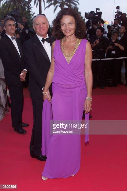Designer Diane von Furstenberg with husband Barry Diller arrive at the 'The Man Who Wasn't There' film premiere during the 54th Cannes Film Festival...