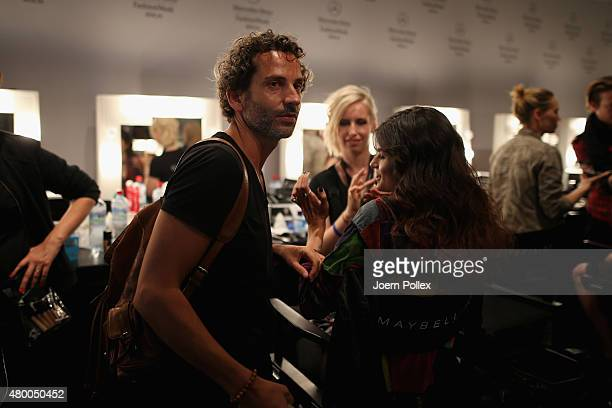 Designer Dimitrios Panagiotopoulos is seen backstage ahead of the Dimitri show during the Mercedes-Benz Fashion Week Berlin Spring/Summer 2016 at...