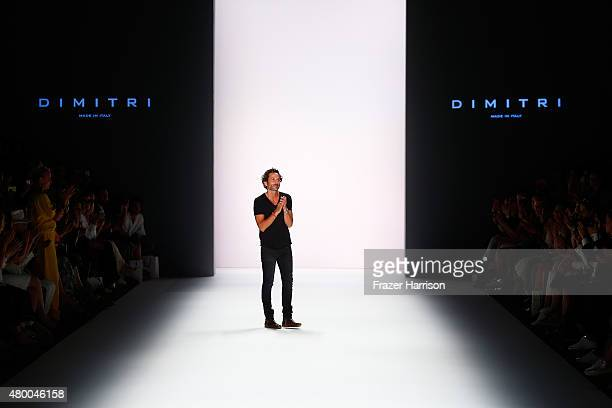 Designer Dimitrios Panagiotopoulos walks the runway after the Dimitri show during the MercedesBenz Fashion Week Berlin Spring/Summer 2016 at...
