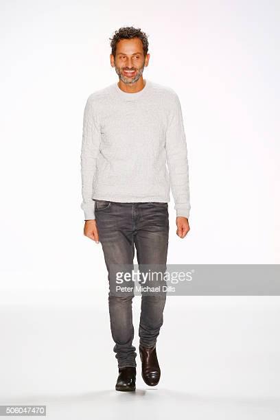 Designer Dimitrios Panagiotopoulos walks the runway at his Dimitri show during the MercedesBenz Fashion Week Berlin Autumn/Winter 2016 at Brandenburg...
