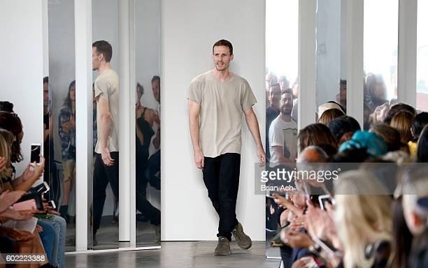 Designer Dion Lee appears on the runway during the Dion Lee fashion show during New York Fashion Week September 2016 at Pier 59 Studios on September...
