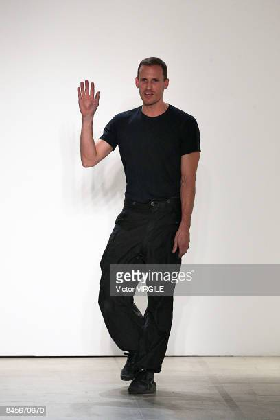 Designer Dion Lee walks the runway at the Dion Lee Ready to Wear Spring/Summer 2018 fashion show during New York Fashion Week on September 9 2017 in...