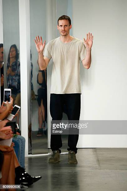 Designer Dion Lee walks the runway at the Dion Lee show at Pier 59 Studios on September 10 2016 in New York City
