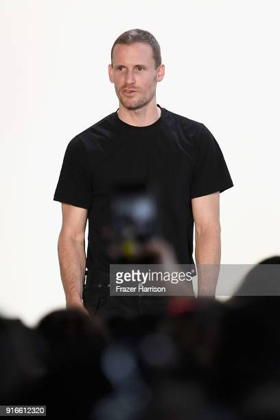 Designer Dion Lee walks the runway for Dion Lee during New York Fashion Week The Shows at Gallery I at Spring Studios on February 10 2018 in New York...