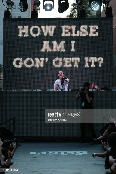 Designer DJ music artist and host Steve Aoki is in the DJ booth at the back of the runway during his Steve Aoki Presents Dim Mak Collection SS18 on...