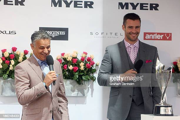 Designer Dom Bagnato and Myer Ambassador Kris Smith talk at the Myer Fashions on the Field Launch at Flemington Racecourse on October 30, 2013 in...