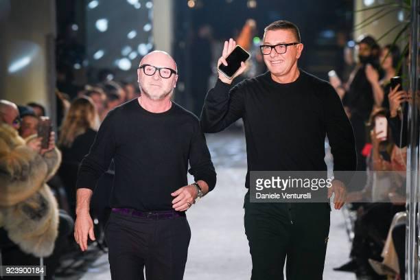 Designer Domenico Dolce and Stefano Gabbana walk the runway at the Dolce Gabbana show during Milan Fashion Week Fall/Winter 2018/19 on February 24...