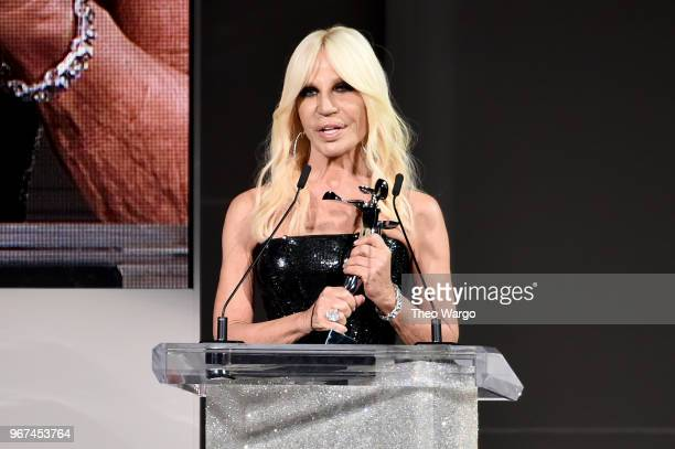 Designer Donatella Versace accepts the 2018 CFDA International award onstage during the 2018 CFDA Fashion Awards at Brooklyn Museum on June 4 2018 in...