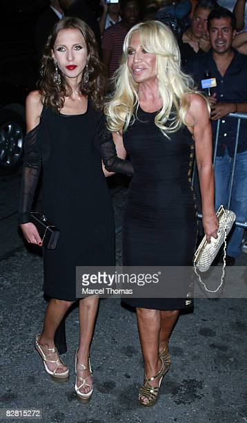 Designer Donatella Versace and daughter Allegra attend a surprise 40th birthday party for Marc Anthony at the Bowery Hotel on September 14 2008 in...