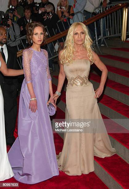 Designer Donatella Versace and daughter Allegra Versace attend the Metropolitan Museum of Art Costume Institute Gala 'Superheroes Fashion And...