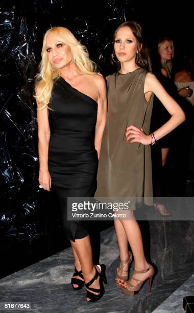 Designer Donatella Versace and daughter Allegra Versace Beck attend Tom Ford Boutique Opening during Milan Fashion Week Spring/Summer 2009 on June 23...