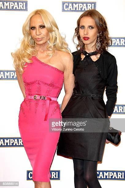 Designer Donatella Versace and her daughter Allegra Beck Versace attend the Campari Club 2009 Campari Calendar launch at La Permanente on December 2...