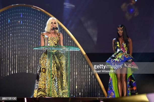 Designer Donatella Versace and model Naomi Campbell are seen at The Fashion Awards 2017 in partnership with Swarovski at Royal Albert Hall on...