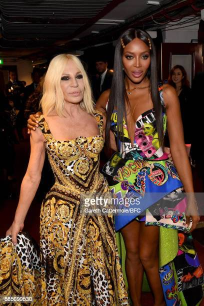 Designer Donatella Versace and model Naomi Campbell are seen backstage during The Fashion Awards 2017 in partnership with Swarovski at Royal Albert...