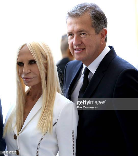 Designer Donatella Versace and photographer Mario Testino attend the Anna Wintour Costume Center Grand Opening at Metropolitan Museum of Art on May 5...