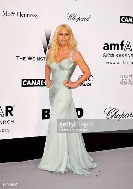 Designer Donatella Versace arrives at amfAR's Cinema Against AIDS 2008 benefit held at Le Moulin de Mougins during the 61st International Cannes Film...
