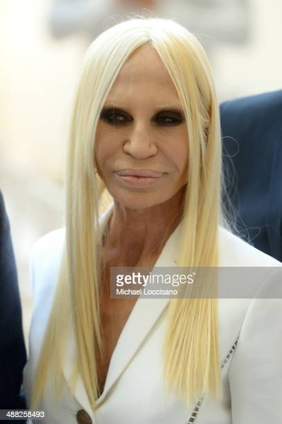 Designer Donatella Versace attends the Anna Wintour Costume Center Grand Opening at the Metropolitan Museum of Art on May 5 2014 in New York City