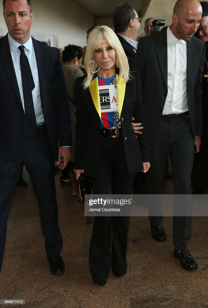 Designer Donatella Versace attends the Heavenly Bodies: Fashion & The Catholic Imagination Costume Institute Gala Press Preview at The Metropolitan Museum of Art on May 7, 2018 in New York City.