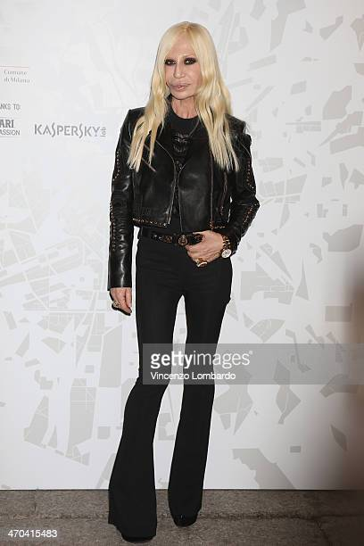 Designer Donatella Versace attends the The Vogue Talents Corner fashion show during Milan Fashion Week Womenswear Autumn/Winter 2014 on February 19...
