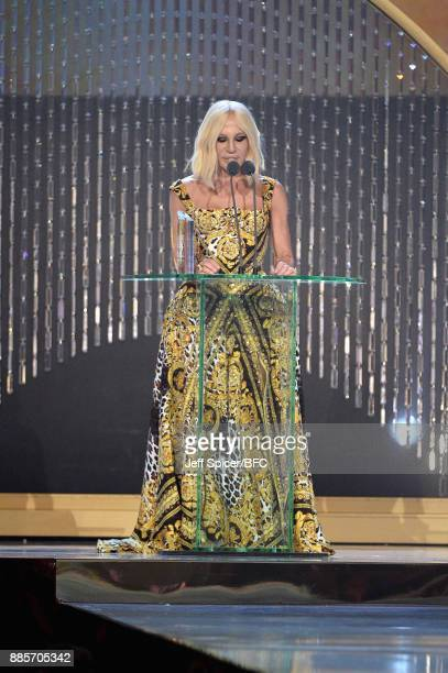 Designer Donatella Versace is seen at The Fashion Awards 2017 in partnership with Swarovski at Royal Albert Hall on December 4 2017 in London England