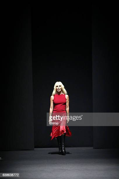 Designer Donatella Versace walks the runway at the Versace show during Milan Men's Fashion Week Fall/Winter 2017/18 on January 14 2017 in Milan Italy