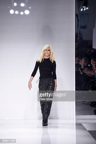 Designer Donatella Versace walks the runway during the Versace Spring Summer 2016 show as part of Paris Fashion Week on January 24 2016 in Paris...