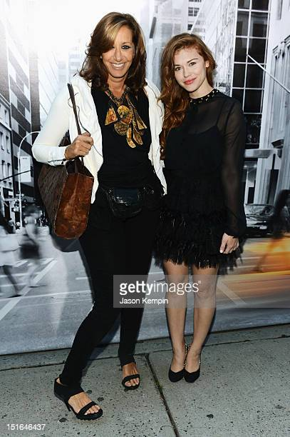 Designer Donna Karan and actress Holland Roden attend the DKNY Women's Spring 2013 fashion show during MercedesBenz Fashion Week at 547 W 26th Street...