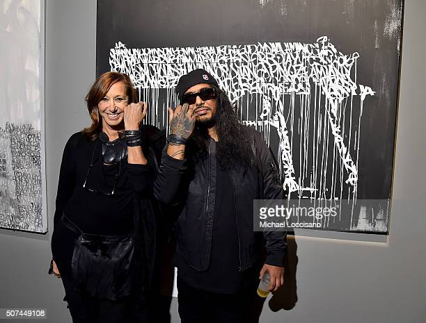 Designer Donna Karan and artist Ashish 'Hash' Patel attend Art For Social Justice Usher Raymond IV Daniel Arhsam and TIDAL debut Chains at Urban Zen...