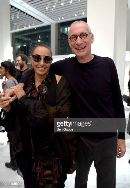 Designer Donna Karan and John Skipper attend The EcoAge Commonwealth Fashion Exchange US Debut presented by Swarovski The Woolmark Company and...