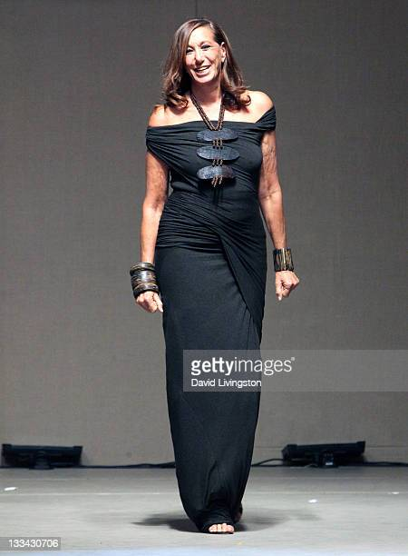 Designer Donna Karan appears on the runway following a fashion show featuring her Spring 2012 Collection at the Dream Foundation's 10th annual...