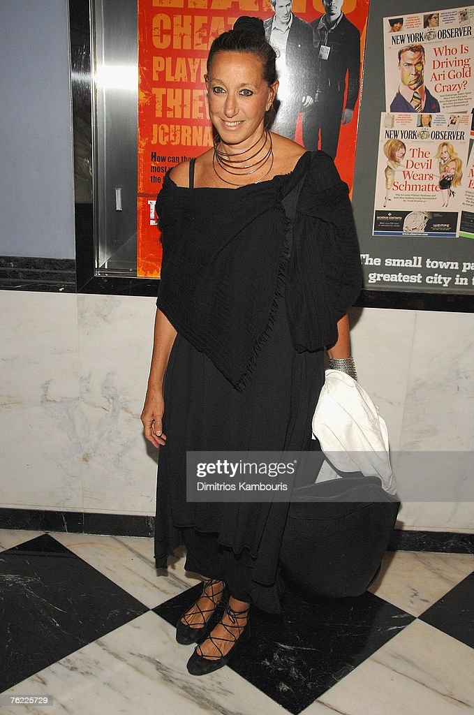 Designer Donna Karan arrives during the premiere of 'The Hunting Party' at the Paris Theater on August 22, 2007 in New York City.