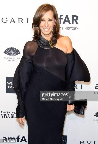 Designer Donna Karan attends the 2014 amfAR New York Gala at Cipriani Wall Street on February 5 2014 in New York City