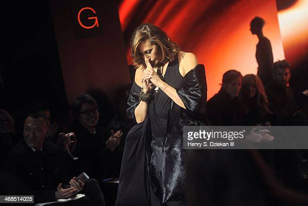 Designer Donna Karan attends the Donna Karan New York 30th Anniversary Show during MercedesBenz Fashion Week Fall 2014 at 23 Wall Street on February...