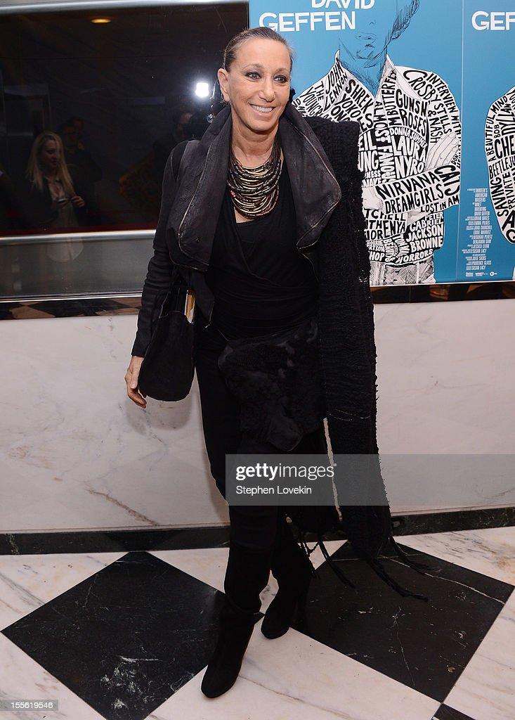 Designer Donna Karan attends the 'Inventing David Geffen' New York Premiere at Paris Theater on November 5, 2012 in New York City.
