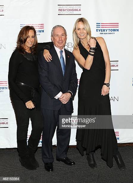Designer Donna Karan former Mayor of New York City Michael Bloomberg and Lise Evans attend the Not One More Event at Urban Zen on February 10 2015 in...