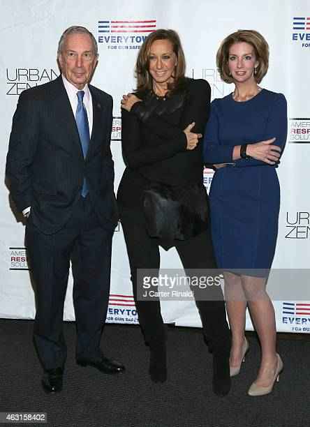 Designer Donna Karan former New York City Mayor Michael R Bloomberg and Lise Evans attend 'Not One More' Event at Urban Zen on February 10 2015 in...