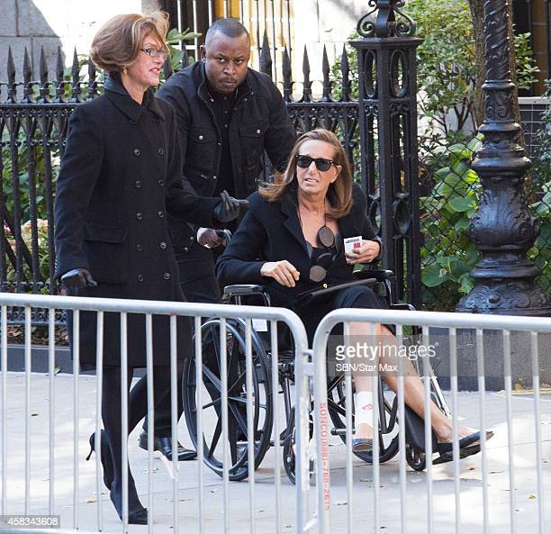 Designer Donna Karan is seen at the funeral of fashion designer Oscar De La Renta at St Ignatius Of Loyola on November 3 2014 in New York City