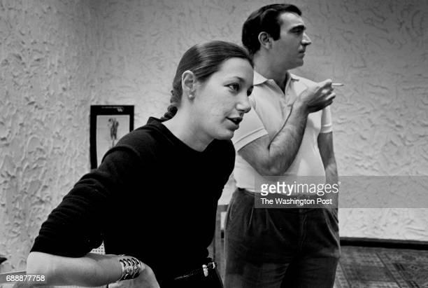 Designer Donna Karan left and designer Louis DellOlio Both were head designers of the Anne Klein fashion line after Kleins death in 1974 Shown in the...