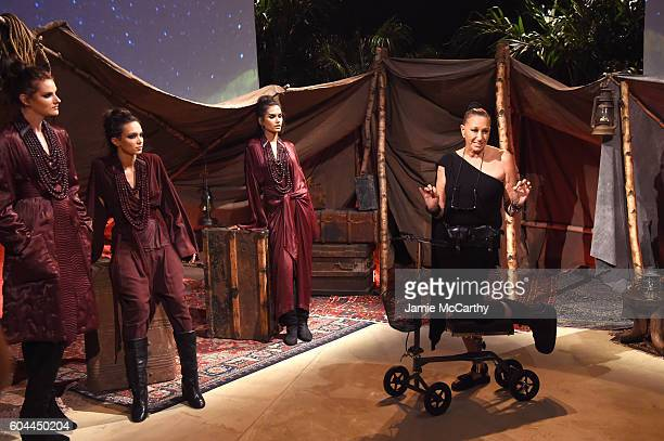Designer Donna Karan poses with models for Urban Zen during New York Fashion Week September 2016 at Urban Zen on September 13 2016 in New York City
