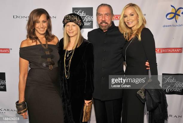 Designer Donna Karan presenter Barbra Streisand John Paul DeJoria chairman and CEO John Paul Mitchell Systems and actress Eloise DeJoria attend The...